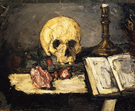 Nature morte, crâne et chandelier
